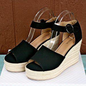 SODA Fabia Platform Wedge Sandals Black Espadrille